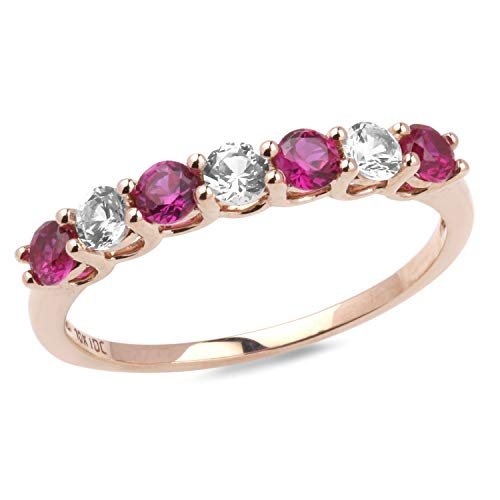 Lab created White Sapphire and Ruby Band in 10k Rose Gold-Size 6
