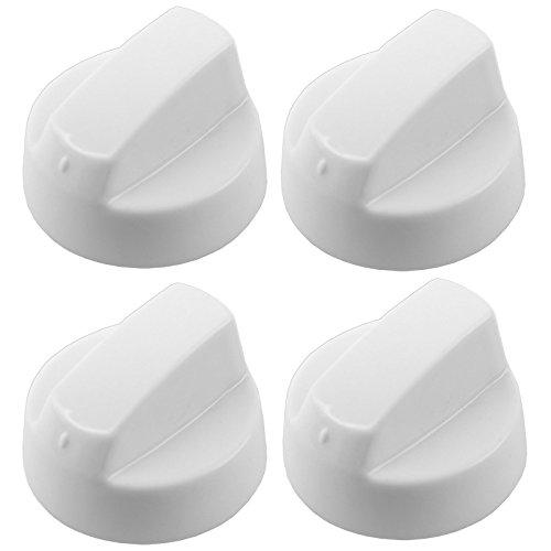 Weißer Universalsteuerknopf von Spares2go, Einstellknopf für alle Marken und Modelle von Öfen & Herden, (Packung mit 1, 2, 4, 6 oder 8 + Adaptern) Pack Quantity: 4