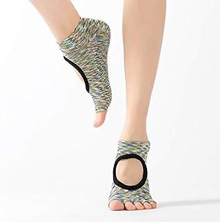 SGJFZD 3pairs/Set New Open Back Non-Slip Yoga Socks Open Toe Dispensing Yoga Five Finger Socks Women, Color Randomly Sent (Color : Random)