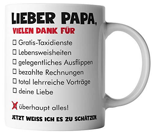 vanVerden Tasse - Lieber Papa vielen Dank für überhaupt alles - Tassen für Vatertag Spruch Vater - beidseitig Bedruckt - Geschenk Idee Kaffeetassen, Tassenfarbe:Weiß