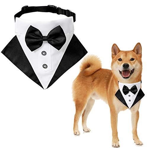 ZXDDD Haustier Hund Katze Bandana Schal Fliege Hochzeitsanzug Halstuch Kragen Haustier Pflege Zubehör Maschinenwaschbar,Schwarz Weiß S.