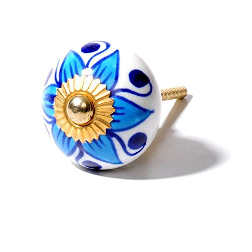 Freak Scene Möbelknauf aus Keramik Shabby Chic - Blume 03 - blau