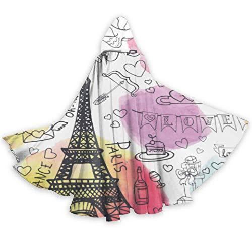 N\A Amour Paris Voyage France Carte Léger Cape À Capuche Femmes Enfant Cape À Capuche 59 Pouces pour Noël Halloween Costumes Cosplay