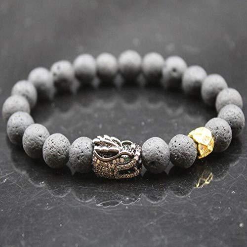 ISK Perlenarmband 8 mm Naturstein Lava-Zirkon Gold Perlen Armreif Stretch Charm Yoga für Damen Herren Schmuck Schwarzer Loong Ring