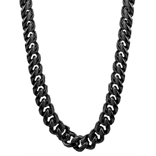 ネックレスチェーン メンズ 4面カット喜平ブラックチェーン (太さ:7.0mm) 50cm サージカルステンレス316L シンプル 首輪 首飾り ペンダント キーチェーン ウォレットチェーン 鎖