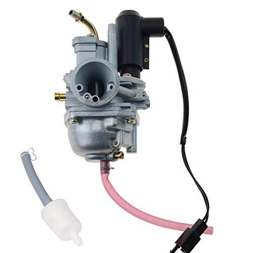 GOOFIT Carburador Moto 18mm con Electrónico de Acelerador con Filtro Combustible 2 Tiempos Pit Bike para XH90 NF50 QJ50 49cc 50cc Mini Quad Go Kart Ciclomotor y Scooter Plata