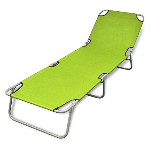 vidaXL Bain de Soleil Vert Pliable avec Dossier Ajustable Chaise Longue de Jardin