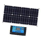 Fenteer 100W 10A 12V 24V Kit De Panel Solar Flexible Para Caravana, Barco, Camping, Coche