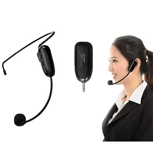 Wireless UHF Mikrofon, 50m Kabelloses Mikrofon,Kopfhörer und Handheld 2 in 1Wiederaufladbar Drahtloses Mikrofon für Sprachverstärker,Lehren Kurs Konferenzen,Reiseleiter