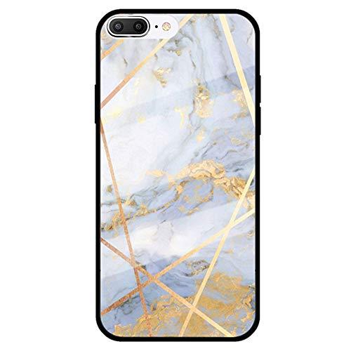 MoreChioce Coque iPhone 8 Plus Marbre Géométrie motif Silicone Antichoc Rigid Cover Ultra Mince Strass Glitter Brillant Verre Housse de Protection compatible avec iPhone 7 Plus,Marbre #12