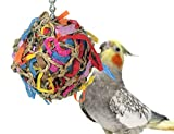 Sweet Feet and Beak Super Shredder Ball - Bird Cage Accessories to Keep Your Bird Busy Foraging for Hidden Treasures - Non-Toxic, Easy to Install Bird Foraging Toys for Small Sized Birds - 3 Inch