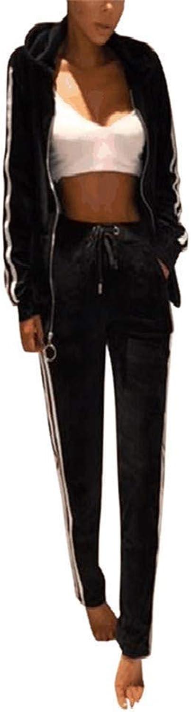 ALING Women's Velour 2 Piece Outfits Jacket Suit Bodycon Pants Sweatsuits Set Tracksuits