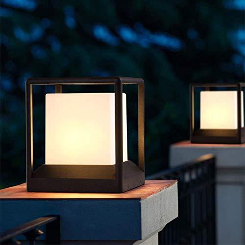 Außen-Sockelleuchte IP54 Mattschwarz Modern E27 Wasserdichte Aluminiumguss Und Acryl Platz Säule Lampe RasenTerrasse Landschaft Hof Garten Stand-Laterne Außenlampe