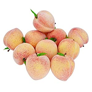 JEDFORE Fake Fruit Home House Kitchen Party Decoration Simulation Artificial Lifelike Peach 10pcs Set
