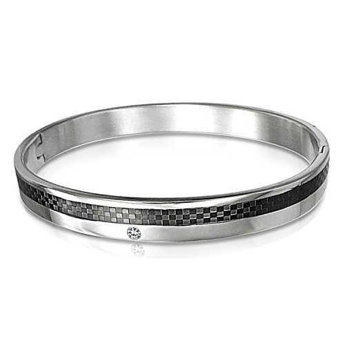 Bling Jewelry Schwarze Kohlefaser Cz Zirkonia Akzent Manschette Armreif Armbänder Für Männer Silber Ton Edelstahl