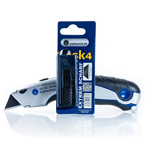 Profi Cuttermesser SK4 mit schwarzer Profi-Klinge | 18 mm breite geschwärzte, rostfreie Klingen | 4 Ersatzklingen Im Griff