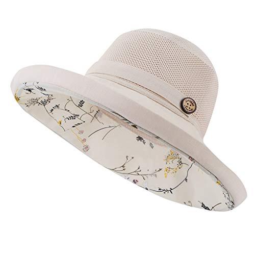 jfhrfged Hut Damen Nähen Holzschnalle Sonnenhut Doppelschicht floral kleine frische Kunst Fischerhut (Beige)