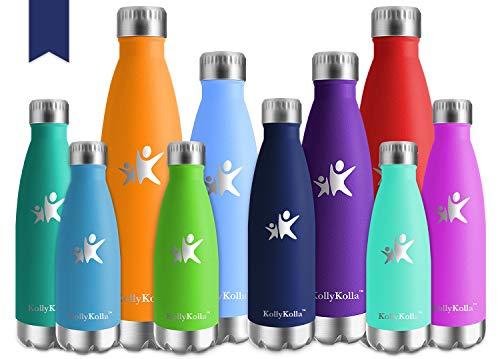 KollyKolla Bottiglia Acqua in Acciaio Inox, 500ml Senza BPA Borraccia Termica, Isolamento Sottovuoto a Doppia Parete, Borracce per Bambini, Scuola, Sport, All'aperto, Palestra, Yoga, Navy Blu