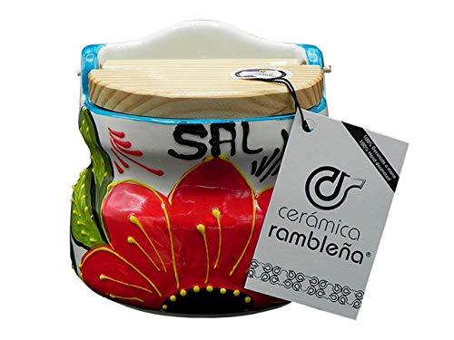 CERÁMICA RAMBLEÑA | Salero cocina | Salero con tapa de madera | Salero cerámica | Salero original | Decoración blanco-flor roja | 100% Decorado a Mano
