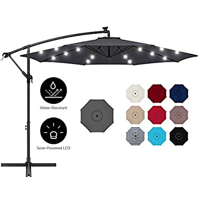 Best Choice Products 10ft Solar LED Offset Hanging Outdoor Market Patio Umbrella w/Easy Tilt Adjustment - Gray