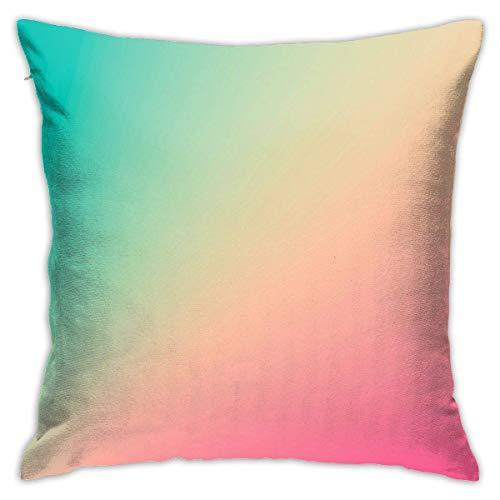 Funda de cojín decorativa de 45 x 45 cm, colores degradados, color turquesa y rosa pastel