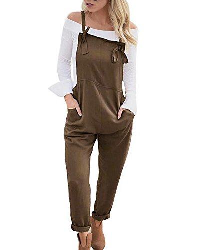 Tomwell Damen Retro Latzhose Overalls Jumpsuits Wide Leg Taschen Sommerhose Pants Braun DE 38