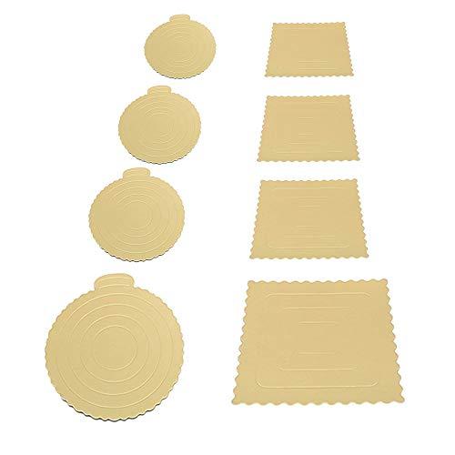 Amasawa 8 Stück Kuchen Hartes Papier Pad,Cake Board,Kuchenplatte Rund und Quadratisch Gesetzt,Verwendet für Kuchendekorationshochzeits Geburtstagsfeier (4 Größen)