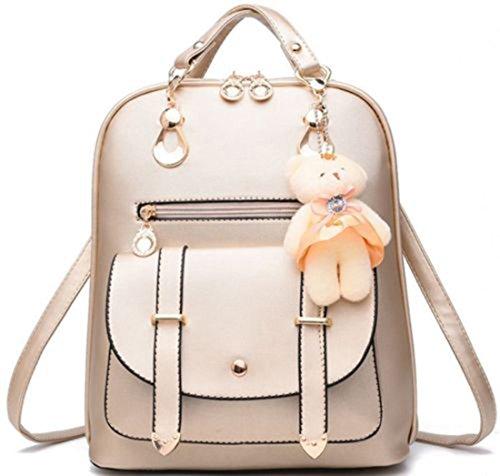 Desconocido Bolso de hombro de la escuela de cuero sintético de la manera de la muchacha de las mujeres Mochila del viaje de la mochila (Oro)