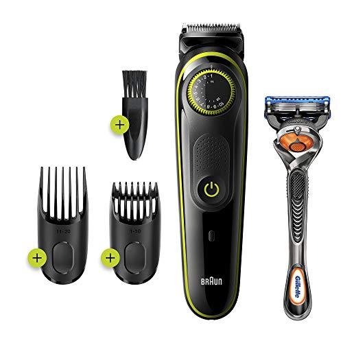 petit un compact Braun BT3241 Tondeuse à barbe et cheveux électrique, 39 réglages de longueur, homme noir / vert