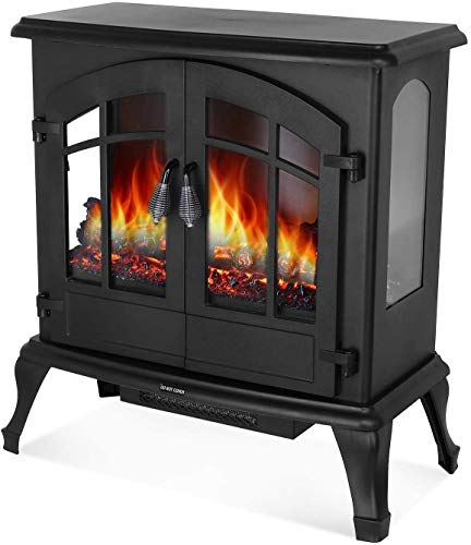 HEMBOR 24'' Electric Fireplace Heater, 1500W Freestanding Stove with Realistic Burning Flame, Overheating Safety Protection, Easy Knob Button Control and 3D Viewing Experience, Home Furniture Black