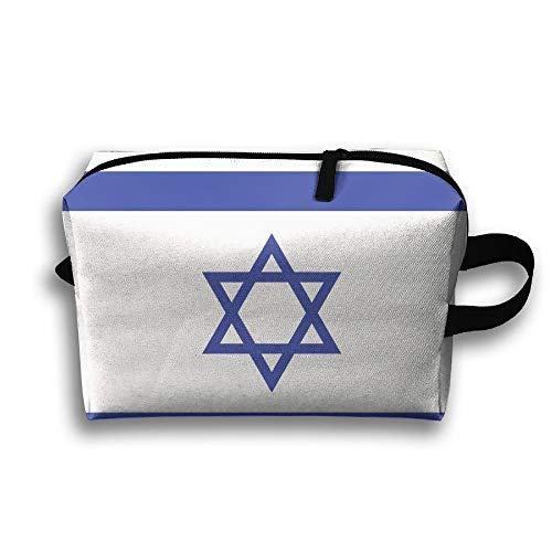 Israelische Flagge Tragbare Kulturbeutel Kosmetiktasche Wasserdichte Reißverschluss-Aufbewahrungstasche