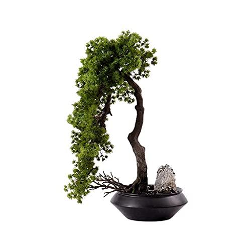 FGVBC NEP Planten Kunstmatige Boom Potplanten Zwarte Keramische Bloempotten Kiezels Kunstmatige Boom Desktop Display Woonkamer Kantoor Woondecoratie Kunstmatige Bonsai