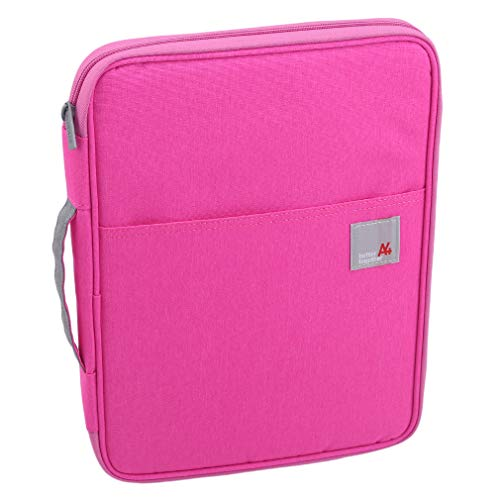 CAVIVI A4 Document Bag Business File Holder Organisateur de Voyage Multifunctional Zippered Case Meeting/Interview/Trip Pouch for Books, Papers, Notebooks, Pens, Files,Rose Rouge