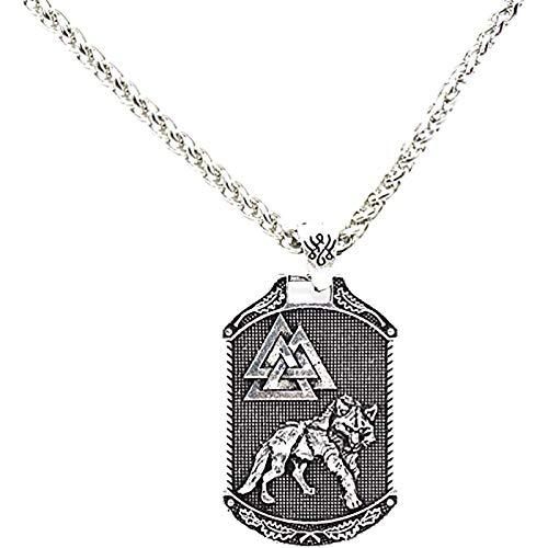 LH&BD Odin Lobo Collar Árbol de la Vida Norse Viking Head Collant con 22.8'Cadena Vintage Celtic Totem Amuleto Punk Jewelry,Plata