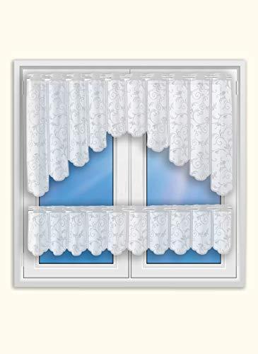 Bistro-Bogen Scheibengardine 2344 | 2 teiliges Set weiß Küchengardine | Gardine Panneau Breite 150cm