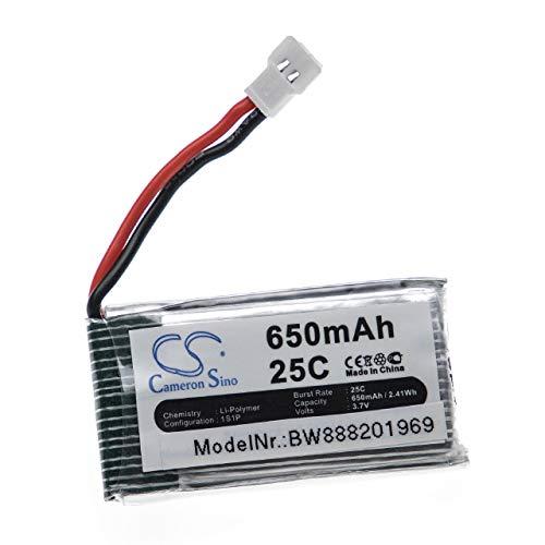 vhbw Batería Recargable Compatible con Hubsan H107D, H107, H107C, H107D Mini Drone, multicóptero, cuadricóptero (650mAh, 3,7V, polímero de Litio)