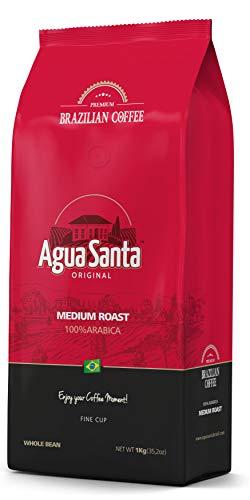 """Agua Santa"" Whole Bean Coffee Medium Roast, Single Origin Brazilian Coffee - Direct Trade - From Farm to Cup - 2.2 lb Pack (35.2oz)"