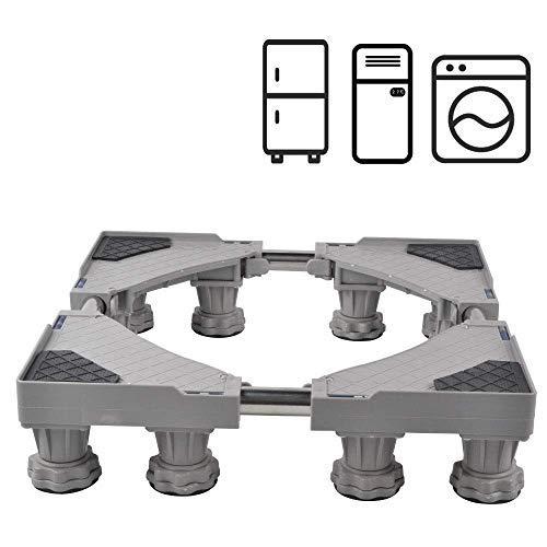 SMONTER Waschmaschine verschiebbar Sockel, Podeste & Rahmen für Kühlschrank, Multifunktionaler beweglicher verstellbare Stand für Trockner, 12Füße, Grau