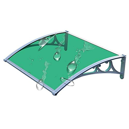 Patio Porch Awning Shelter Door Canopy, 3mm Mute Rain Shelter Flame Resistant Outdoor Sunshade Cover With Aluminum Alloy Brackets Suit For All Seasons (Color : Green+gray, Size : 60x100cm)