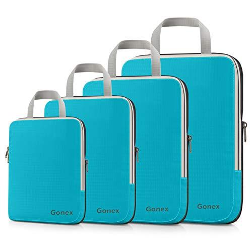 Gonex Compression Packing Cubes, 4pcs Expandable Storage Travel Luggage Bags Organizers (Blue)