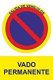 MovilCom® - Señal de aluminio PROHIBIDO VADO PERMANENTE 210X300mm Señal prohibición (ref.RD40948)
