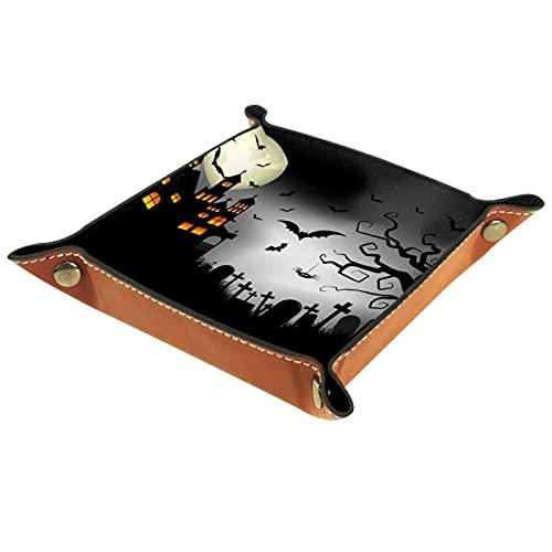 Negro Spooky Halloween Organizador de escritorio personalizado para hombres Key Wallet monedero viaje