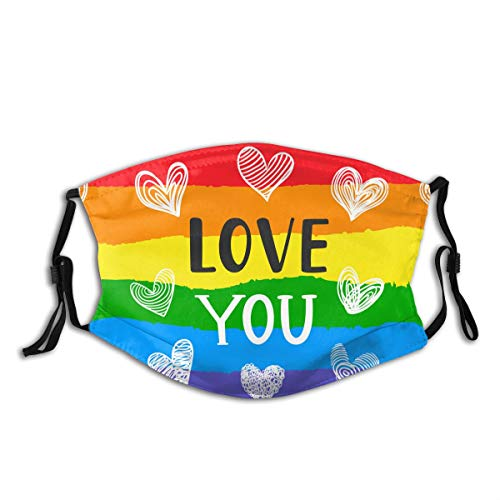 Love You Inspirational Gay Pride Fashion Face Mask With Filter Pocket Washable Face Bandanas Balaclava Dust-Proof Print Reusable Fabric Mask With 2 Pcs Filters