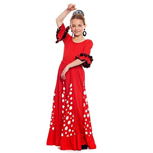 Falda Flamenca Niña Roja con Quillas Lunares Blancos [Tallas Infantiles 2 a 12 años]【Talla 6 años】 Ensayo Baile Danza Disfraz