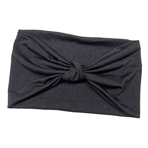 sharprepublic Bandanas de Capeza para Maquillaje Cintas Elásticas Bowknot pañuelo Cabello Correr Yoga Fitness - Negro