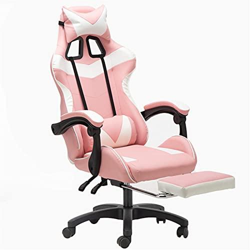 Gaming Chair, PC Stuhl Ergonomischer Bürocomputer Schreibtisch Swivel Racing Artstuhl Hohe Rücken Liegende Ausführung mit Kopfstütze, Lenden- und Fußstützen,Rosa weiß