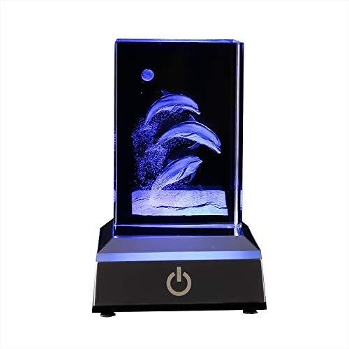 3D Kristallkugel LED Nachtlicht Puzzle Dolphin Lampen mit LED Lampensockel, Touch Switch, 7 Farben blinken automatisch