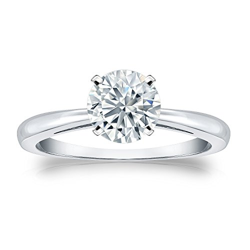 Round Solitaire Diamond Engagement Ring in 14k White Gold (1/3 carat TW, H-I, I1-I2) 4-Prong Set, Size 7 by Diamond Wish
