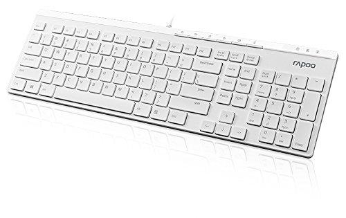 Rapoo N7000 ultraschlanke kabelgebundene Tastatur, USB Anschluss, Multimedia-Tasten, klassisches Design, weiß