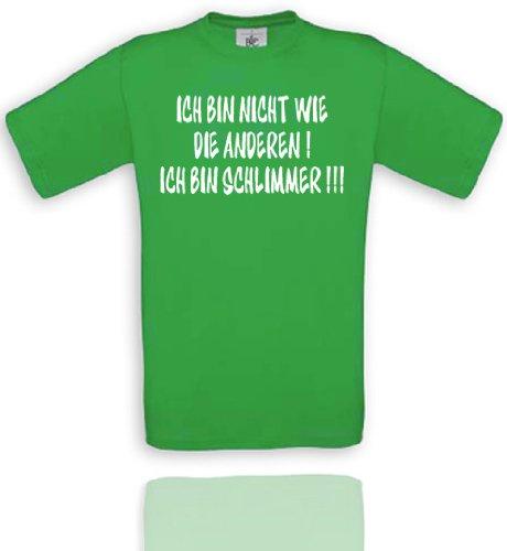 Comedy Shirts T-shirt Diverses couleurs Motif « Ich bin nicht wie die Anderen ! Ich bin schlimmer !!! » Unisexe. L Vert/blanc.